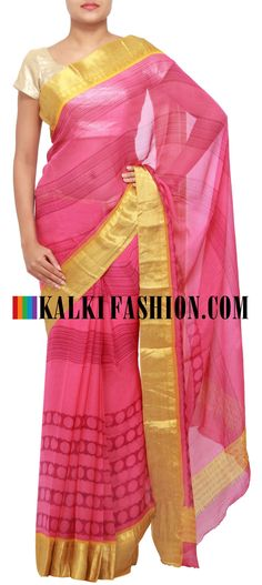 Get this beautiful saree here: http://www.kalkifashion.com/printed-saree-in-pink-highlighted-in-banarasi-border-only-on-kalki.html Free shipping worldwide.