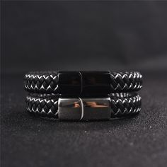Braided Leather Bracelet for Men - Leather Bracelets for Men - Bracelets For Boyfriend, Mens Gold Bracelets, Braided Bracelets, Metal Bracelets, Fashion Bracelets, Simple Bracelets, Diamond Bracelets, Mens Braids, Ghana Braids