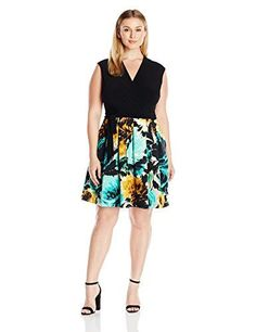 Taylor Dresses Womens Plus Size Mock Wrap Jersey and Floral Scuba BlackHoney Gold 16W -- See this great product.