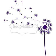 Vinyl decal dandelion plant fuzzy flower seeds blowing away via Etsy
