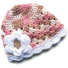 59db4389443 Neopolitan Hand Crocheted Baby Girl Cotton Crochet Scalloped Beanie Hat  -MADE TO ORDER