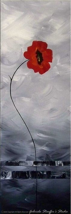 CUSTOM PAINTING - Abstract Floral Modern Painting Poppies Original Art by Gabriela 50x30 LARGE black, white, red, via Etsy