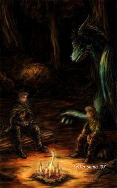 Brom, Eragon even though he's got brown hair, Saphira.