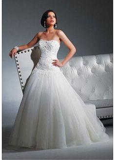 Elégante Exquise Robe de mariée sans bretelle jupe en boule col en U avec traîne amovible en tulle  garnie de perlage, applique en dentelle et diamant fait main  WWD00MEF