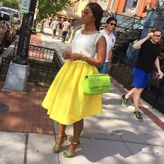 #browngirlslove quilted purses! Loving the color play of @jojocharry yellow skirt and green quilted purse #quiltedpurse #style #fashion #brightcolors #spring #summer