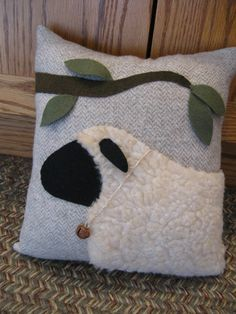 Wooly Primitive Sheep Pillow.... Woollen Fabrics by Justplainfolk
