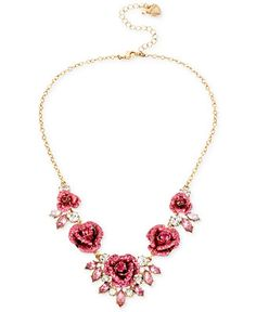 Betsey Johnson Gold-Tone Glitter Rose Frontal Necklace - Betsey Johnson - Browse - Macy's