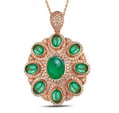 Pendentif or rose Emeraude Diamant