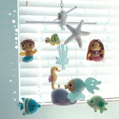 Musical Baby Mobile Mermaid Girl and Mermaid Boy with Under the Sea Fish, Nautical, Ocean Theme Room, Crib Mobile, Nursery or Kid Room Decor by GiftsDefine on Etsy https://www.etsy.com/listing/208854210/musical-baby-mobile-mermaid-girl-and
