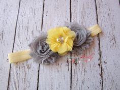 Yellow & Gray Headband -  Photo Prop - Newborn Infant Baby Toddler Girls Adult Flower Girl Wedding