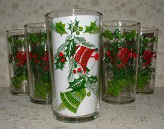 6 Vintage 1950's Christmas Bells Glasses MIB - Hazelware