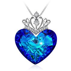 GEORGE · SMITH Elegant Queen Crown Pendant Blue Heart Neckomen Crystals from Swarovskilace, Heart of Ocean Jewelry for Women Christmas Day Gifts (Blue Crown) Ocean Jewelry, Heart Jewelry, Cute Jewelry, Silver Jewelry, Antique Jewelry, Silver Ring, Diy Schmuck, Schmuck Design, Blue Necklace