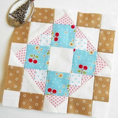 Farmer's Wife 1930s quilt block no. 32 - Fanny.  Easy paper-piecing using scraps.