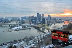 Pittsburgh Skyline Photography  Winter Day in the by HotSausDesign