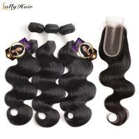 Malaysian Body Wave Lace Closure Remy 3 Bundles Hair Weave Natural Color Human Hair Bundles With Closure Brazilian Hair Weave, Brazilian Body Wave, Blow Hair, Indian Hair Weave, Help Hair Grow, 100 Human Hair Extensions, Loose Waves Hair, Waves Bundle, Body Wave Hair