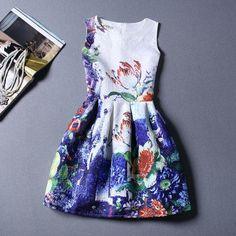 Retro Blue Printing Pattern Sleeveless Vest Dress For Women