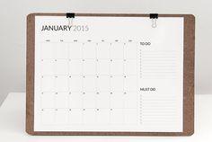 2015 calendrier minimal et fonctionnel imprimable