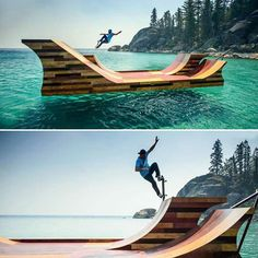 Floating Skate Ramp at Lake Tahoe, California - http://www.differentdesign.it/2014/03/20/floating-skate-ramp-at-lake-tahoe-california/
