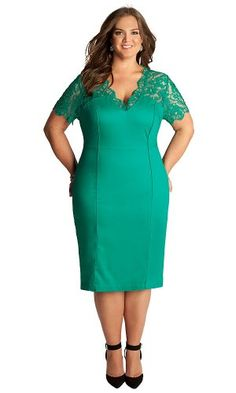 What is not to like about this elegant smooth dress with its vibrant turquoise and sumptuous lace. http://plussizepartywear.newreviews.info/igigi-plus-size-denise-dress-in-mint-jade-20/