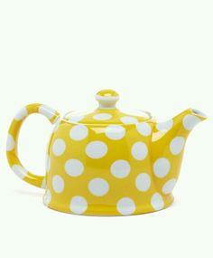 .Polka-Dot Style Yellow & White Teapot