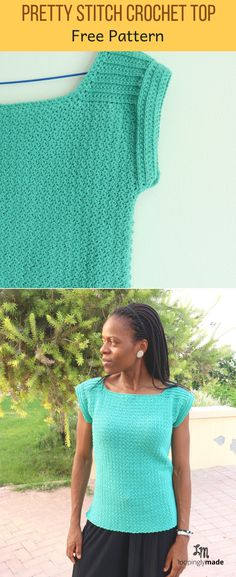 Crochet Blouse Patterns The Pretty Stitch crochet top pattern is a casually fashionable women's top that can be worn alone or paired with accessories for a stylish look. Pull Crochet, Stitch Crochet, Mode Crochet, Knit Crochet, Crochet Hats, Crochet Stitches, Ravelry Crochet, Crochet Bodycon Dresses, Black Crochet Dress