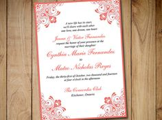 Printable Wedding Invitation Template  Heart Wedding Invitation