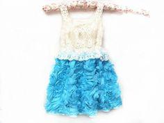 Turquoise vintage rosette dress www.facebook.com/periwinkleprincessboutique
