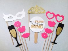 12-Piece Bachelorette Party Set - Last Fling Before the Ring - Glitter Photobooth Props - Wedding Photo Booth