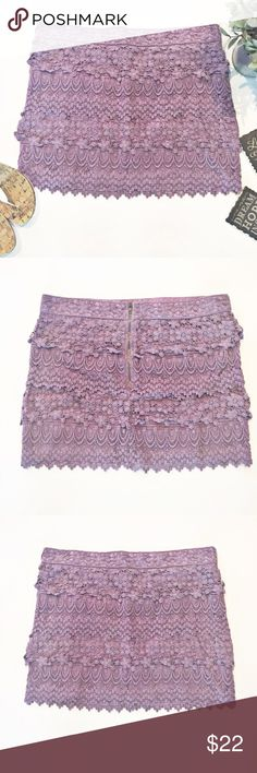 American Eagle Outfitters Purple Lace Skirt Stunning purple tiered lace mini skirt. Dress it up or down. Approximate measurements laying flat: waist 17.5, length 15.5. 👗👛👠👙👕Bundle & Save! American Eagle Outfitters Skirts Mini