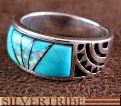 Turquoise Opal Inlay Southwest Silver Ring GS56199