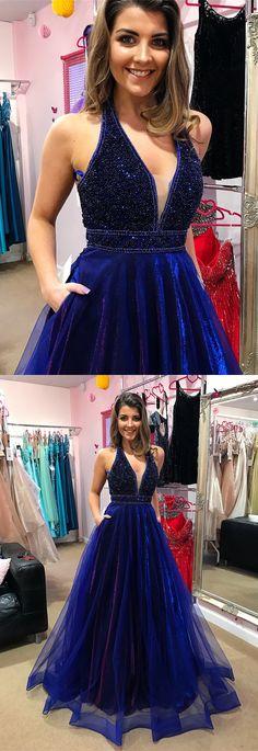 Blue V Neck Prom Dresses,beaded Long Prom Dress, Blue Evening Dress, Evening Gowns Prom Dresses With Pockets, V Neck Prom Dresses, Blue Evening Dresses, Prom Dresses 2018, Tulle Prom Dress, Blue Dresses, Formal Dresses, Formal Prom, Party Dresses