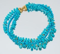 A Persian Turquoise and 18k Gold Torsade Necklace
