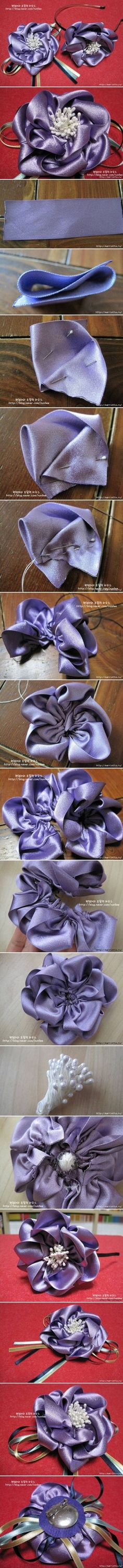 How to make Satin Ribbon Flower Brooch bouquet step by step DIY tutorial instructions / How To Instructions on imgfave