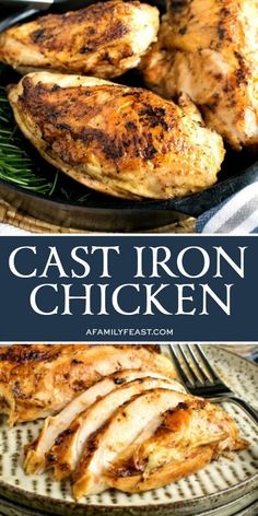 This easy Cast Iron Chicken uses your grill as the oven so you wont have to heat up the kitchen this summer! Chicken Cast Iron Skillet, Cast Iron Chicken Recipes, Cast Iron Skillet Cooking, Iron Skillet Recipes, Chicken Skillet Recipes, Cast Iron Recipes, Skillet Meals, Cast Iron Roasted Chicken, Turkey Recipes