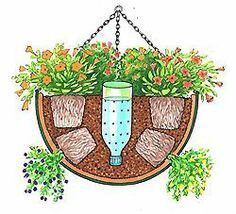 self watering hanging basket - Need to try this for the hanging baskets on the porch. self watering hanging basket - Need to try this for the hanging baskets on the porch. Container Flowers, Container Plants, Container Gardening, Indoor Gardening, Succulent Containers, Container Design, Pot Plante, Pop Bottles, Plastic Bottles