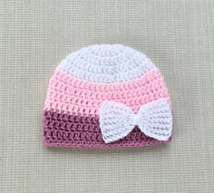 Items similar to Newborn girl hat with bow, Baby girl crochet beanie hat, 0 to 12 months infant hats for girls, New born girl coming home hat on Etsy Crochet Baby Beanie, Baby Girl Crochet, Baby Blanket Crochet, Baby Knitting, Booties Crochet, Hat Crochet, Crochet Flower, Crochet Doilies, Gifts For Newborn Girl