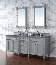 Contemporary 72 inch Double Sink Bathroom Vanity Urban Gray Finish, http://bathdecoratingideas.com/classy-bathrooms-at-low-costs-with-contemporary-vanities/ No Top features classic details with bridge both Traditional and Transitional styles. This beautiful piece of furniture includes one hide-away tip out, top row drawer plus two full-depth side drawers, one of which is double-height for storage of taller items.