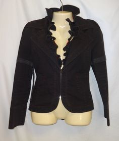 Emily The Strange Coat Jacket L Steampunk Black Red Wicked Hook Eye Goth Ruffle  #EmilyStrange #BasicJacket