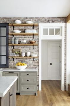 Brick Backsplash is Savannah Gray brick veneer reclaimed Brick Backspl . - Brick Backsplash is Savannah Gray brick veneer reclaimed Brick Backsplash Kitchen with brick recove - Grey Kitchens, Modern Farmhouse Kitchens, Rustic Kitchen, Cool Kitchens, Farmhouse Style, Farmhouse Decor, Kitchen Modern, Kitchen Ideas Unique, Country Farmhouse Kitchen