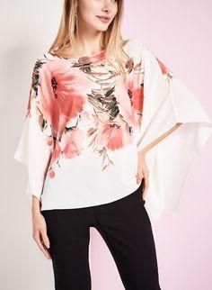 Floral Print Poncho Blouse