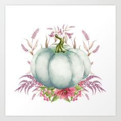 Floral White Pumpkin Art Print by myevergreenplace Watercolor Projects, Watercolor Cards, Watercolor Print, Watercolor Paintings, Fall Canvas Painting, Autumn Painting, Autumn Art, Pumkin Decoration, Pumpkin Art