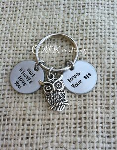 Owl always love you personalized keychain hand by CMKreations, $16.00