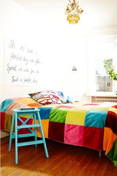 colorful kids' room, white walls