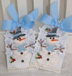 Felt Snowman Snowflake Christmas Gift Tag Set BLUE by PaperBistro