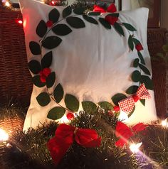 Felt appliquetted Christmas pillow. 42x42cm. International shipment. #christmas #christmas decoration #pillow #pillowcase #christmas pillow, #garland #handcraft #3d #newyear #chatbirdy