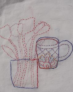 Art Spirit Mary Stanley's contour drawing into quick needlework. Love this.