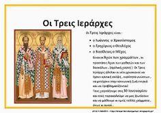 Τρεις Ιεραρχες Greek Language, Language Lessons, School Lessons, Initials, Kindergarten, Preschool, Religion, Spirituality, Faith