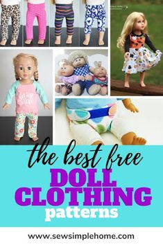Great list of sewing patterns for the best free doll clothes patterns for dolls of all shapes and sizes. Sewing Doll Clothes, Sewing Dolls, Doll Clothes Patterns, Barbie Clothes, Doll Patterns, Clothing Patterns, Sewing Patterns For Kids, Easy Sewing Projects, Sewing Projects For Beginners