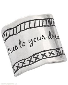 """Celebrate the beauty of dreams with this oxidized Sterling Silver Ring inscribed with """"Be true to your dreams."""" Whole sizes 5-11."""