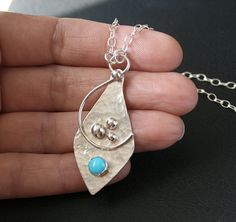 Turquoise and Sterling Silver Pendant Necklace  Sleeping